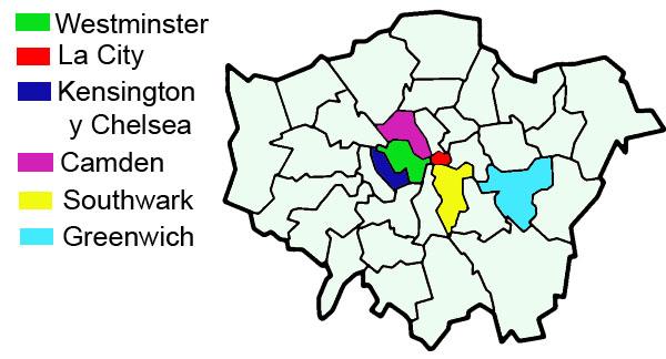 Mapa distritos Londres
